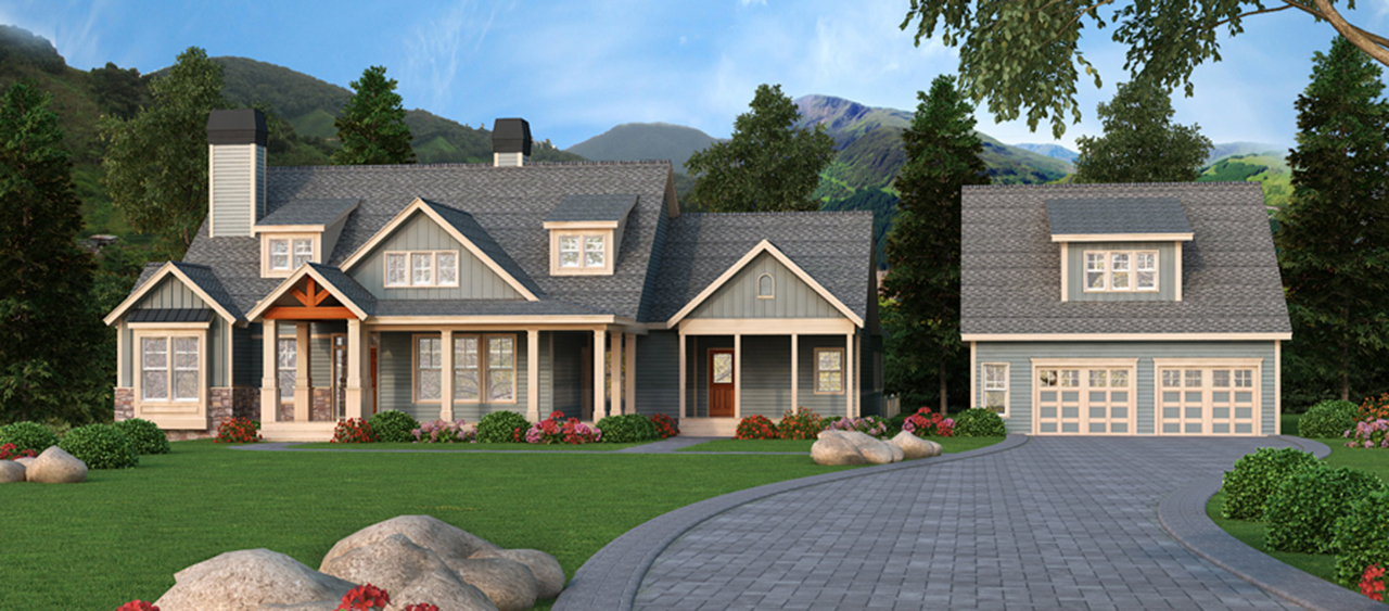 Craftsman retreat with detached garage 29866rl 1st for Craftsman house plans 3 car garage