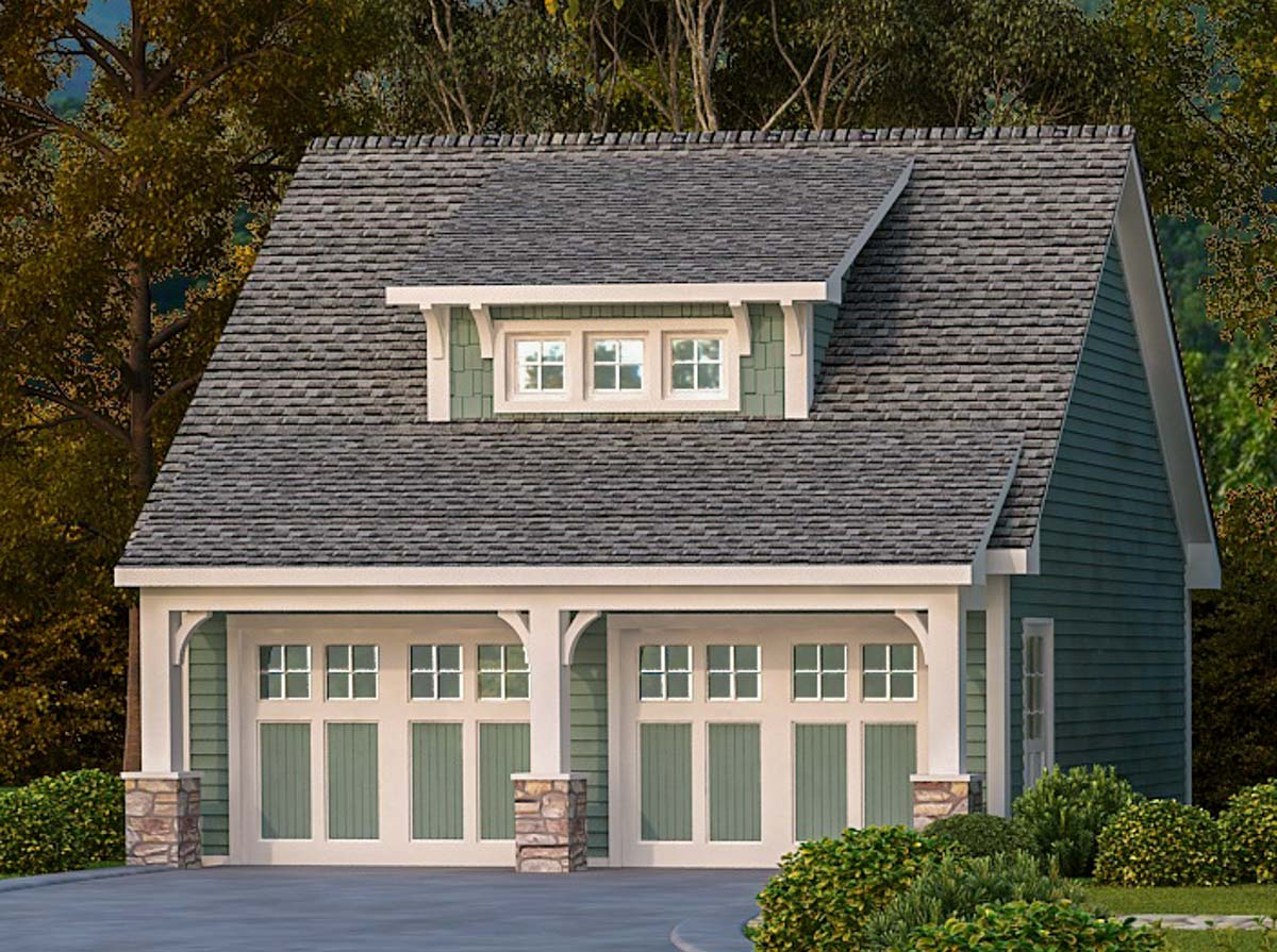 2 car garage with shed dormer 29869rl architectural for Shed with dormer