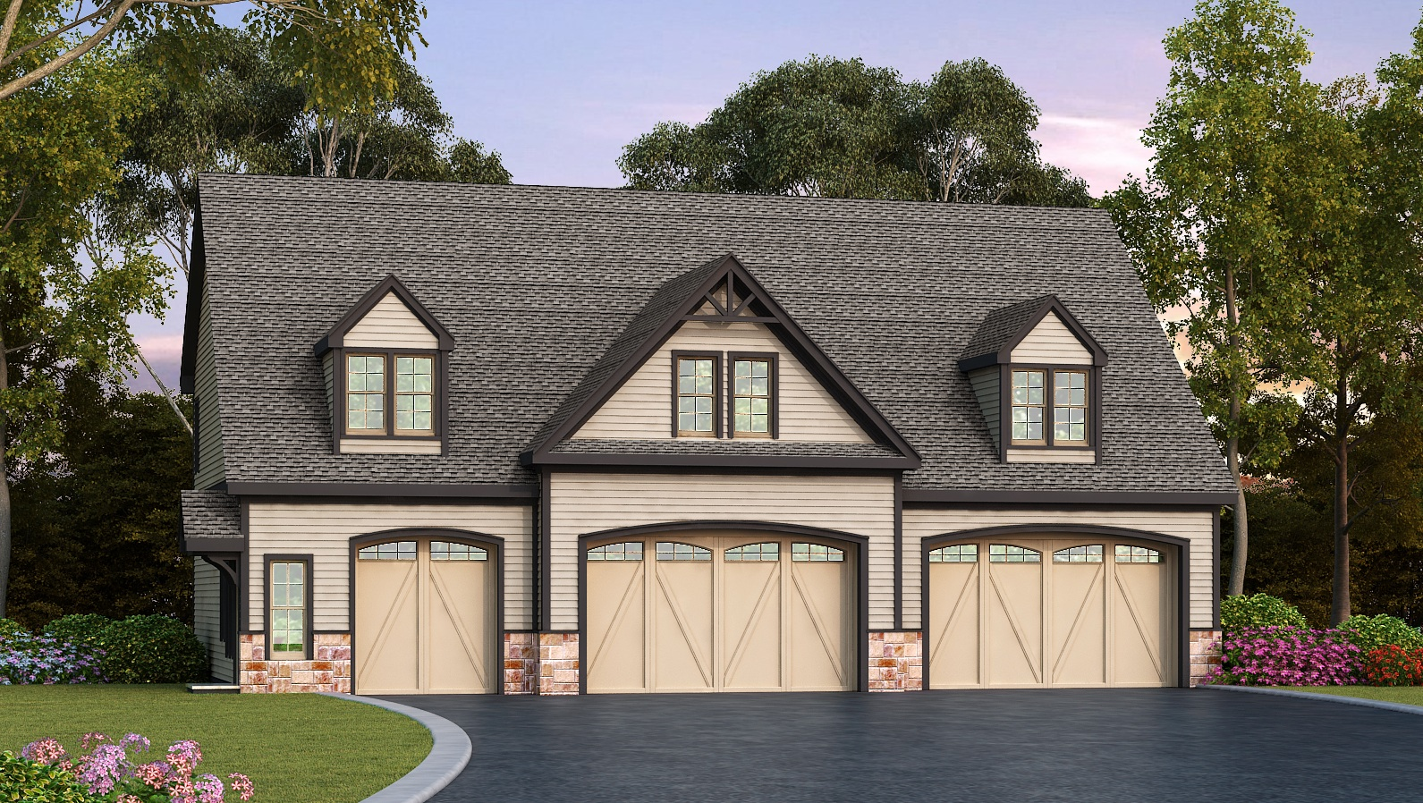 Residential 5 car garage plan 29870rl 2nd floor master for How big is a two car garage