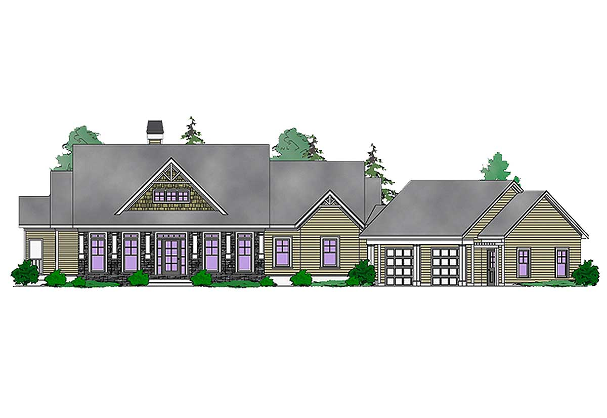 Mountain craftsman with lower level expansion 29874rl for House plans designed for future expansion