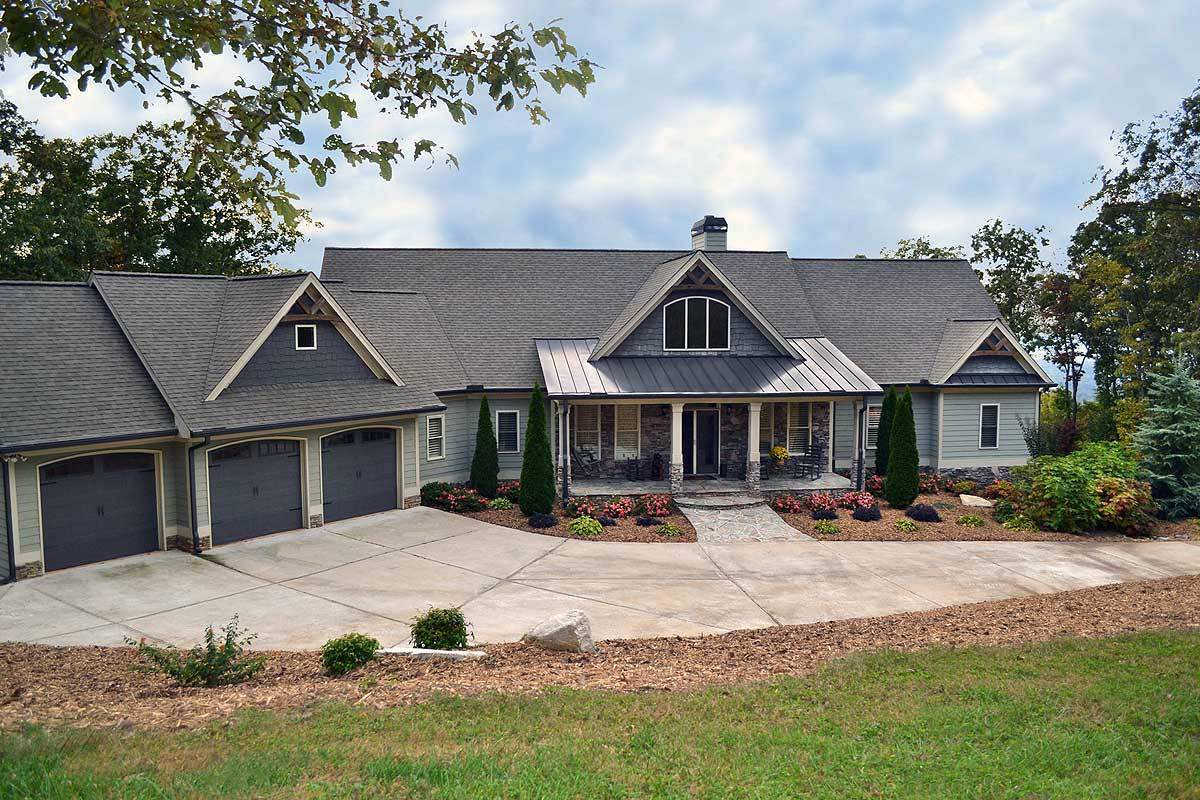 Mountain ranch with walkout basement 29876rl for Basement floor plans for ranch style homes