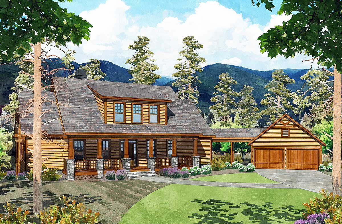 Exclusive 3 bed mountain home with detached garage for Home plans with detached garage