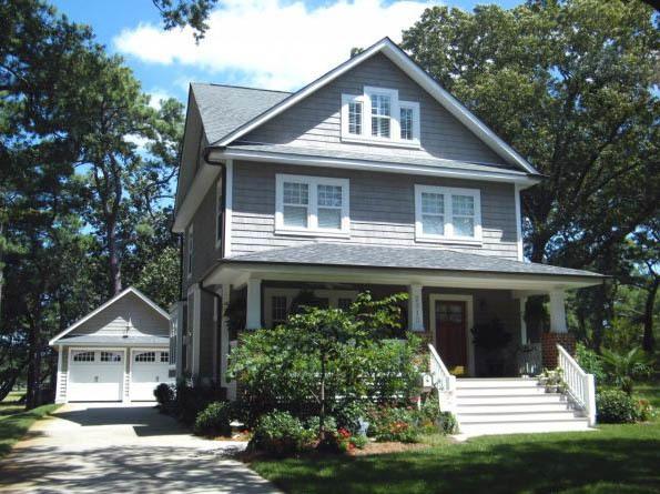 Craftsman with detached garage 30033rt architectural for Craftsman garage planner