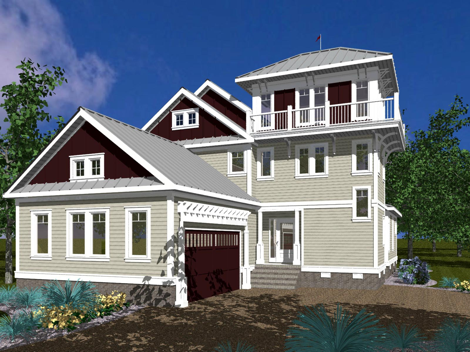 Third floor watch tower 30038rt 1st floor master suite for Beach house tower plans