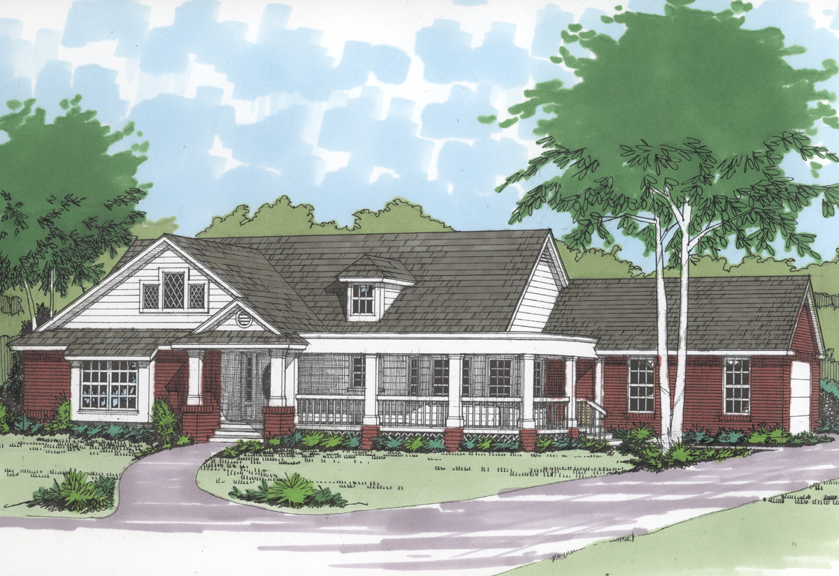 Curved wrap around porch 3007d architectural designs for Hill country house plans with wrap around porch