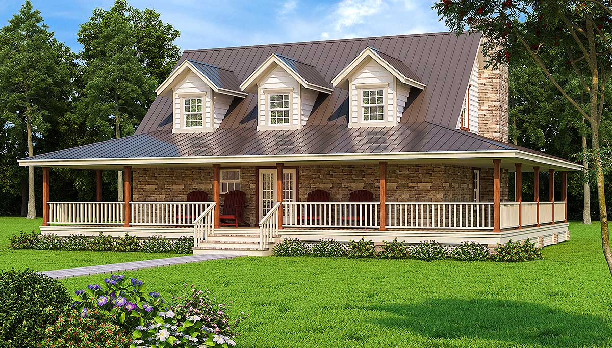 Wonderful wrap around porch 3027d architectural for House plans with porch all the way around