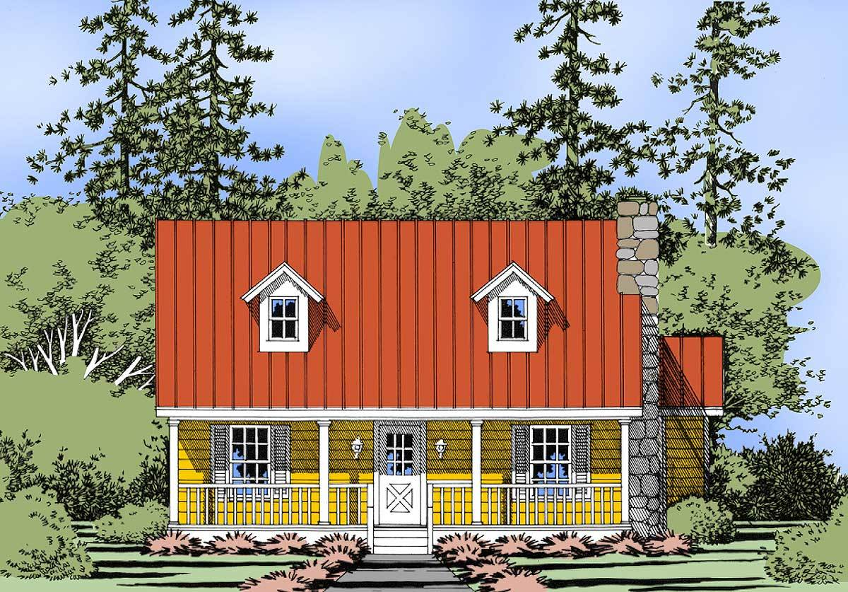 Cottage With Covered Porches 3093d Architectural