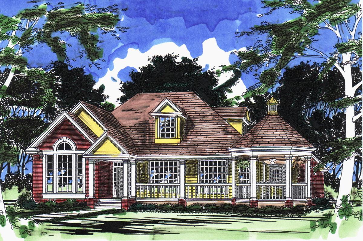 Farmhouse Plan With Gazebo Porch 31017d Architectural