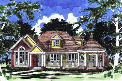 Farmhouse Plan with Gazebo Porch - 31017D thumb - 01