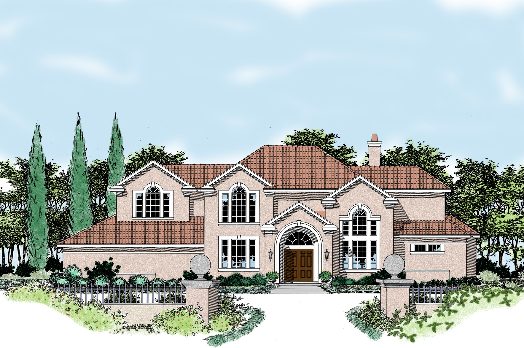 Stately mediterranean with guest casita 31072d for Casita house plans