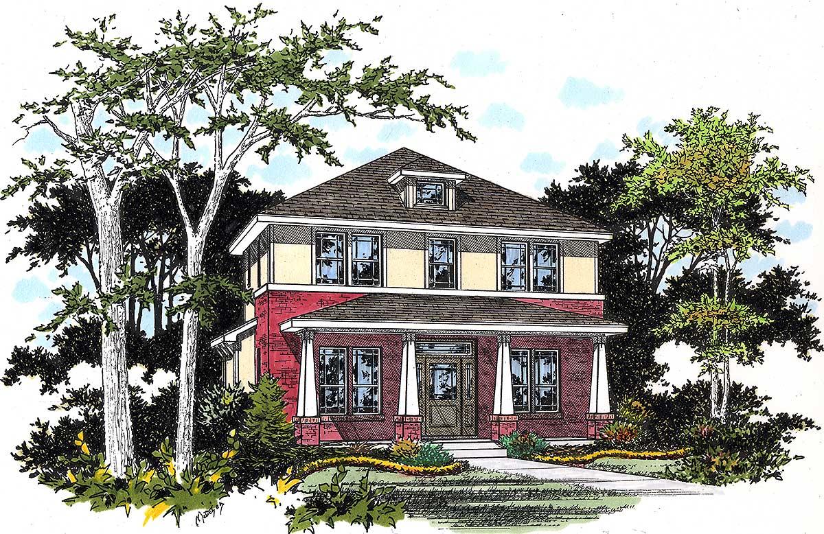 Craftsman foursquare house plan 31125d architectural for Architecturaldesigns com house plan 56364sm asp