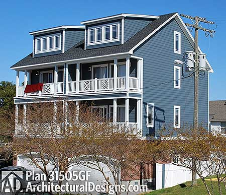 Coastal duplex house plan 31505gf 2nd floor master for Up down duplex floor plans