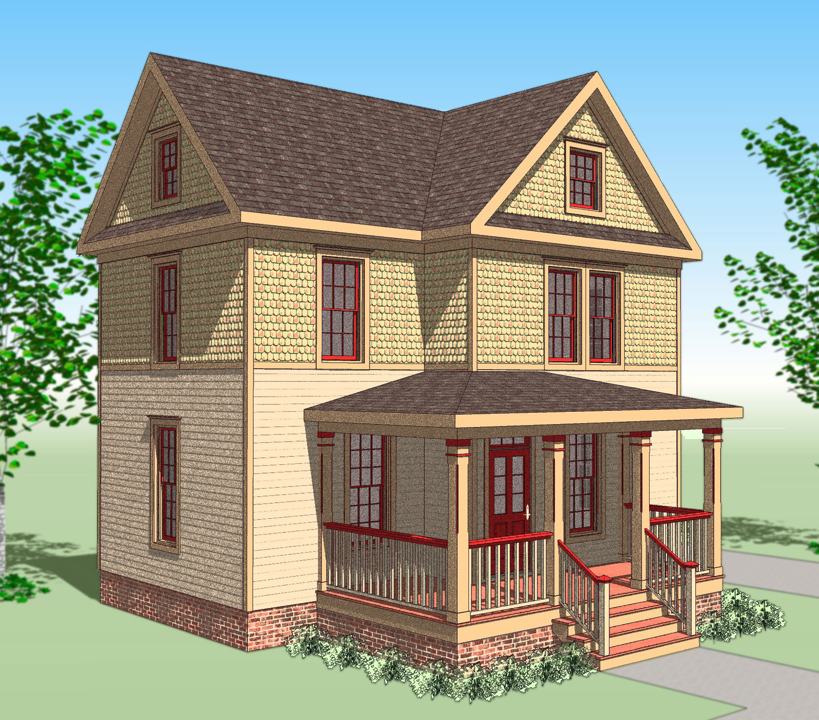 Compact victorian house plan 31516gf 2nd floor master for Original victorian house plans
