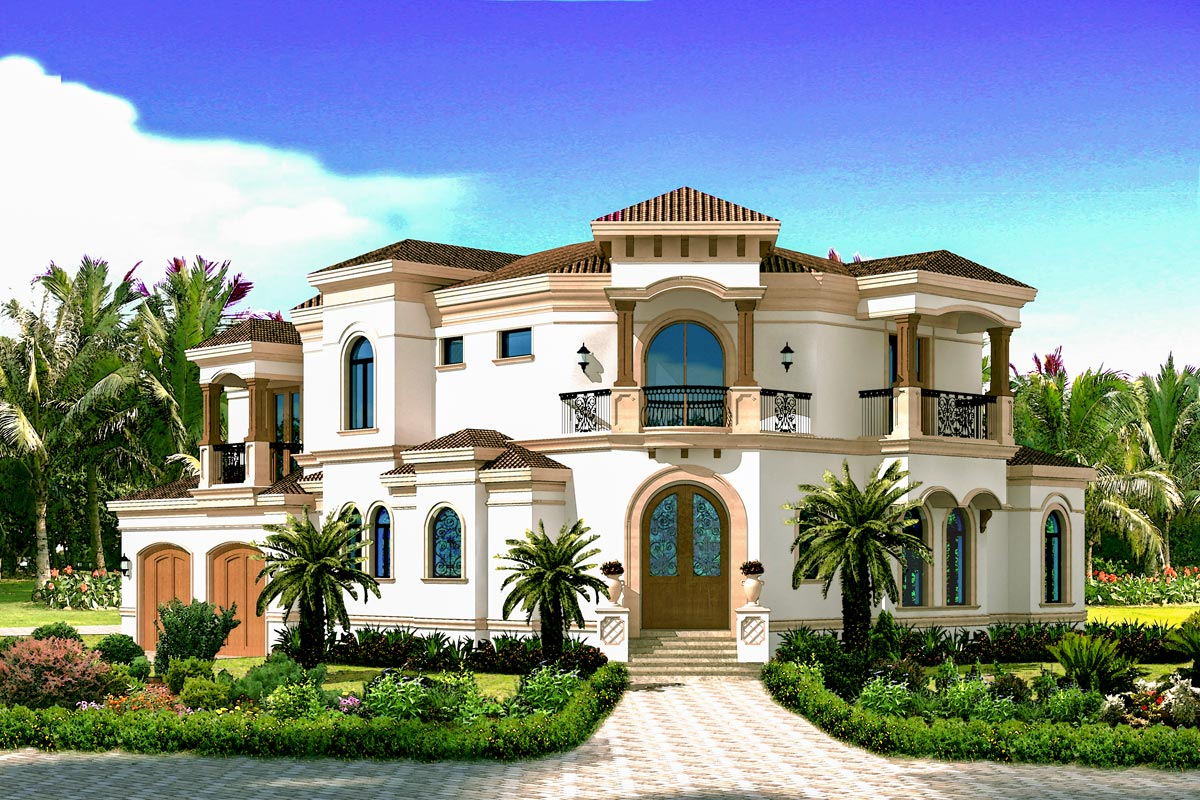 Balconies for all 31800dn 2nd floor master suite - Mediterranean house floor plan and design ...