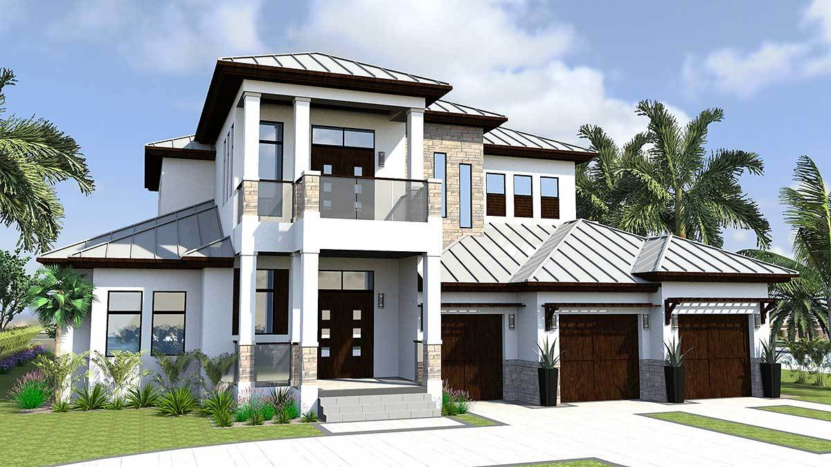 Florida house plan with golf cart garage 31816dn for South florida house plans