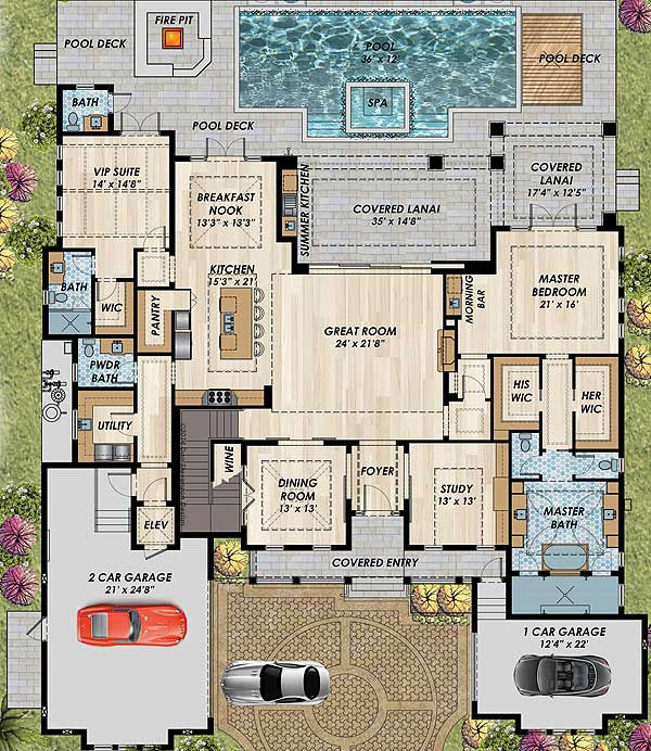 High End Home Design Ideas: High-End Florida House Plan - 31838DN