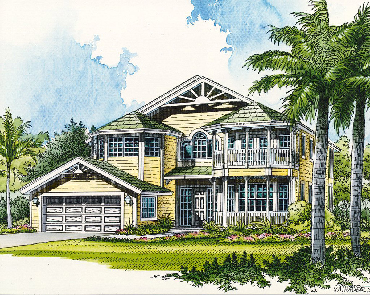 Beach Home With Second Floor Balconies 32026aa 2nd