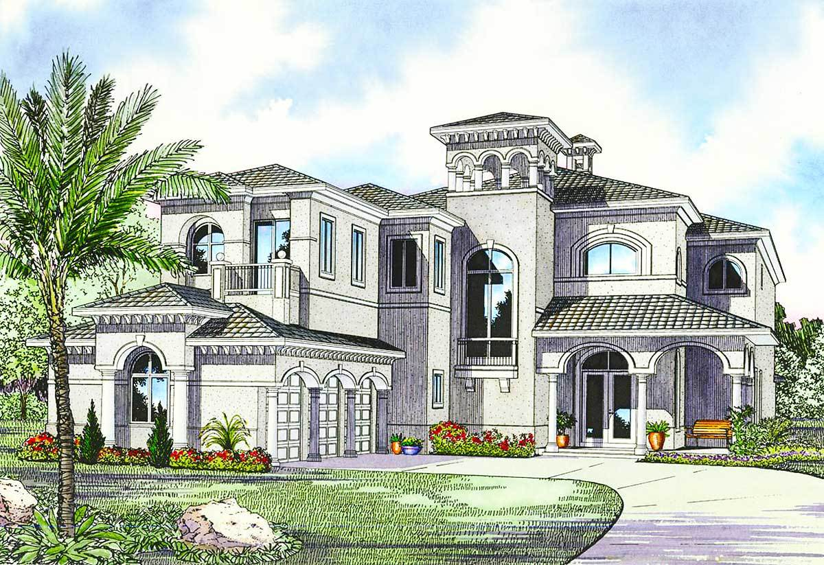 Luxury mediterranean house plan 32058aa architectural for Houses and house plans