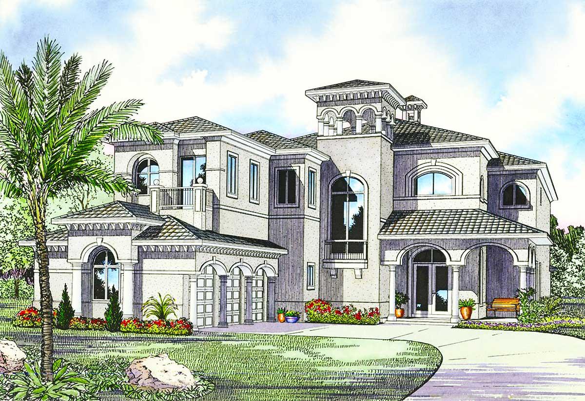 Luxury Mediterranean House Plan 32058AA Architectural Designs