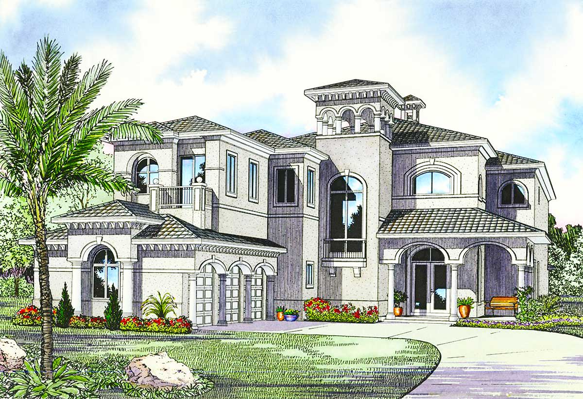 Luxury mediterranean house plan 32058aa architectural for 1 5 story homes