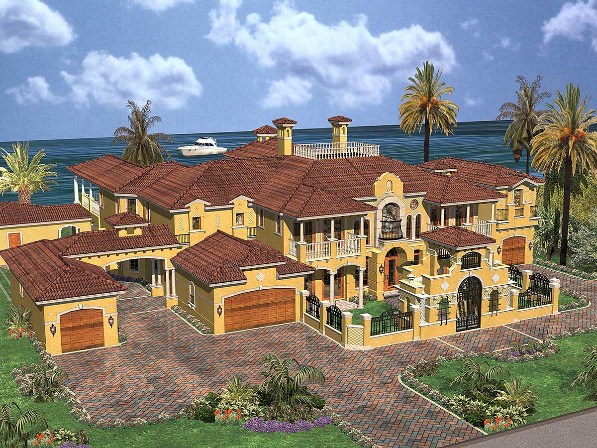 Architectural Home Plans Luxury: Luxury Spanish Estate - 32071AA