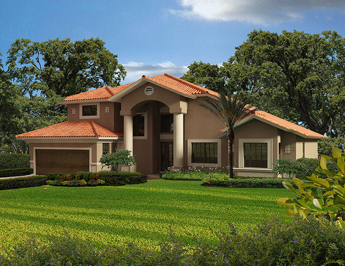 Two story classic florida style 32136aa 1st floor for Two story mediterranean house plans