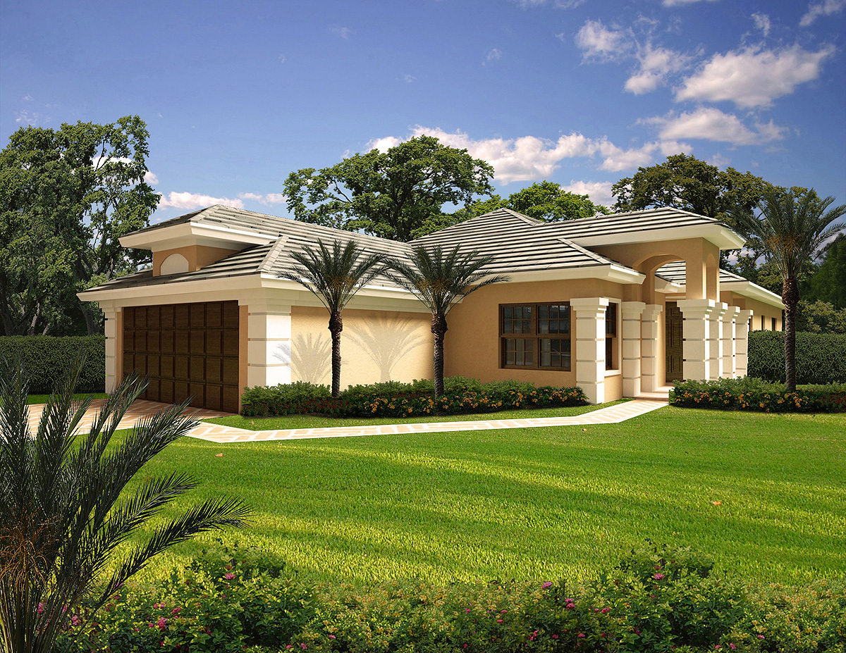 Narrow lot mediterranean home plan 32170aa for Narrow lot home plans with front garage