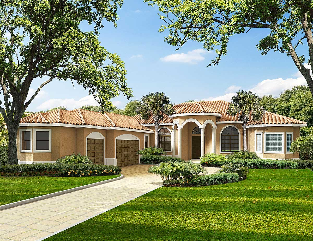 Beautiful one story living 32189aa architectural for Mediterranean home plans