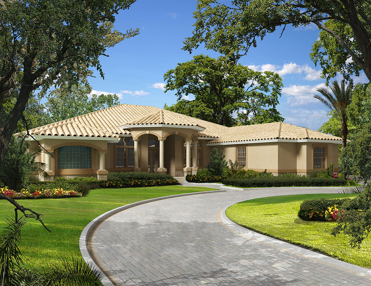 Grand covered entry 32190aa 1st floor master suite for Florida mediterranean house plans