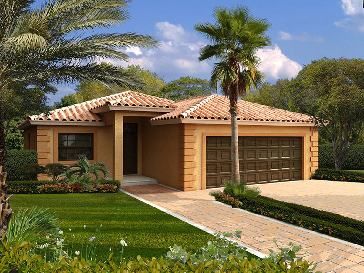 Cozy mediterranean home plan 32209aa 1st floor master for Florida house plans with photos