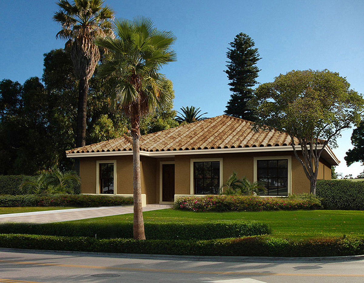 Small 4 bedroom mediterranean house plan 32212aa 1st for Small florida home plans