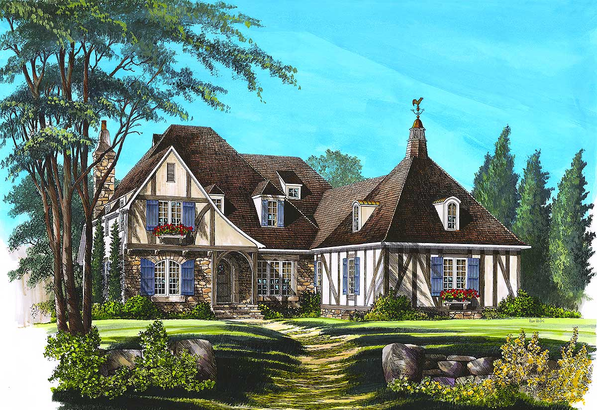Old world charm 32408wp architectural designs house for Old world house plans