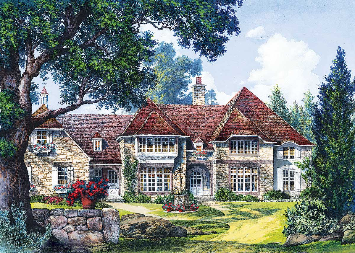 Stately Two Car Garage 92049vs: Stately Five Bedroom Home Plan - 32410WP