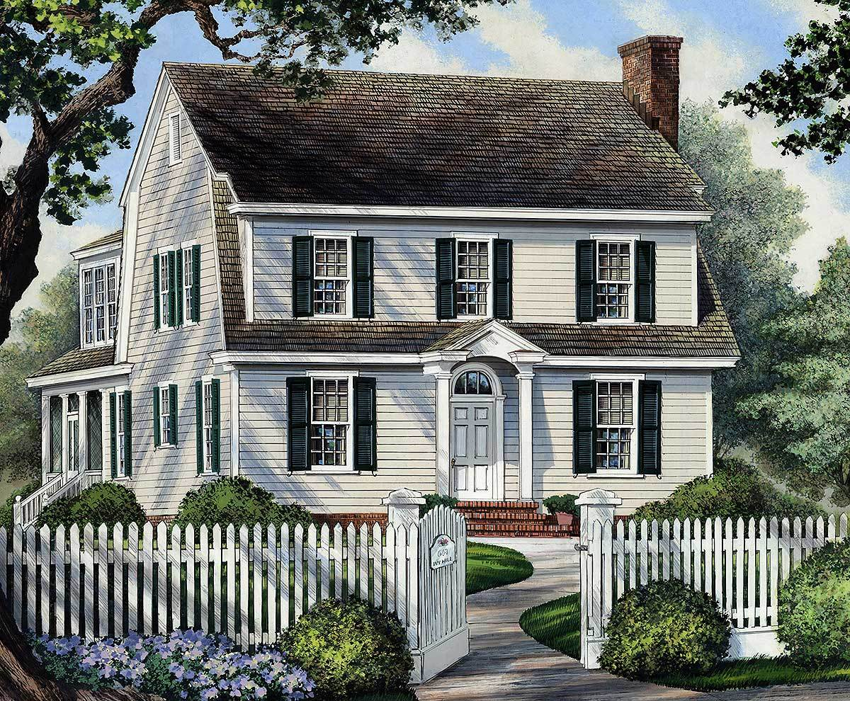 Colonial home for narrow lot 32417wp architectural for House plans for large lots