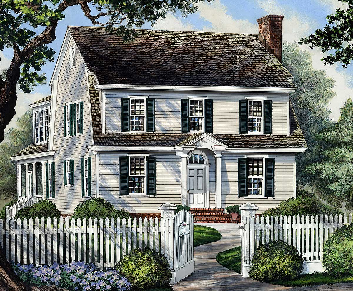Colonial home for narrow lot 32417wp architectural for Large colonial house plans