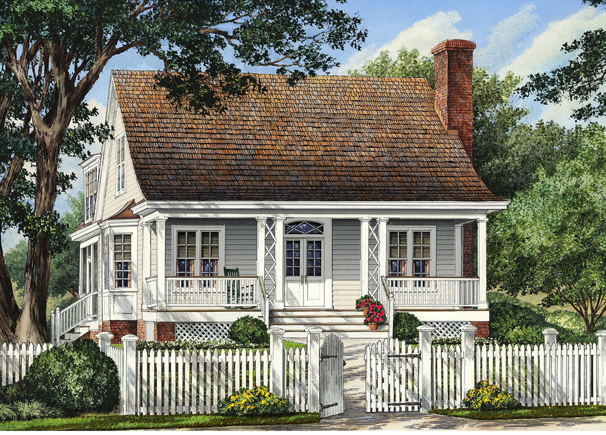 Narrow lot cottage home 32421wp 1st floor master suite for Cottage house plans for narrow lots