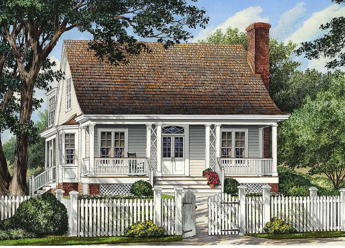 Narrow lot cottage home 32421wp architectural designs for Narrow lot cottage plans