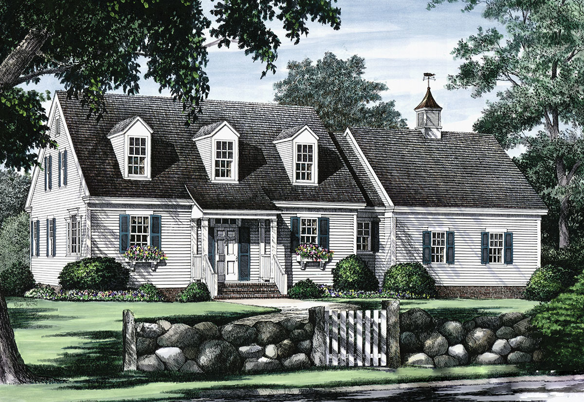 Cape cod with open floor plan 32435wp architectural for Cape cod cottage plans