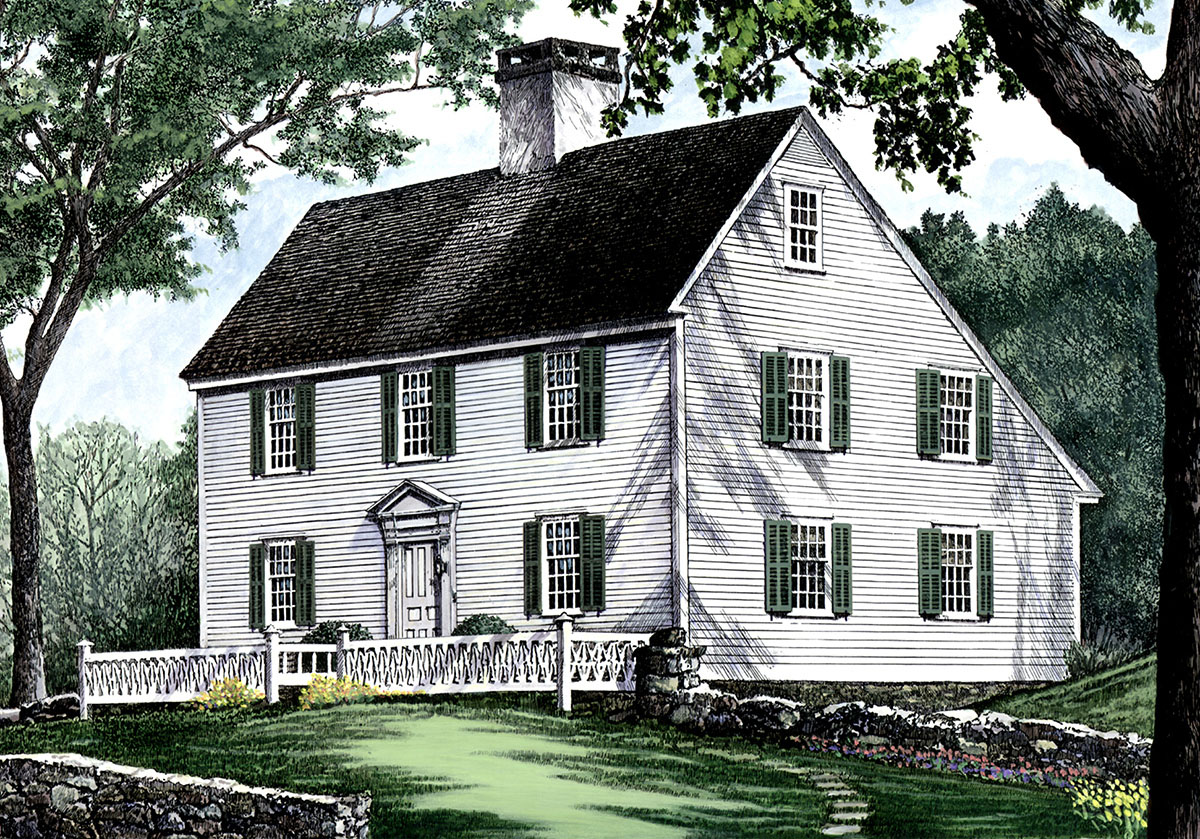 Saltbox style historical house plan 32439wp 2nd floor for Saltbox house plan