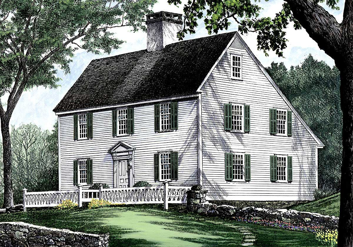 Saltbox style historical house plan 32439wp for Salt box house plans