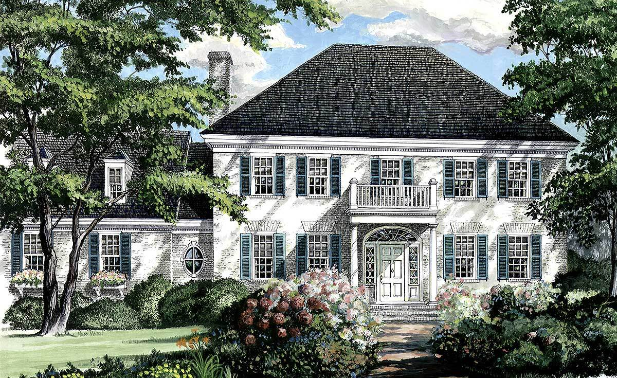 Southern colonial home plan 32444wp architectural for Large colonial house plans