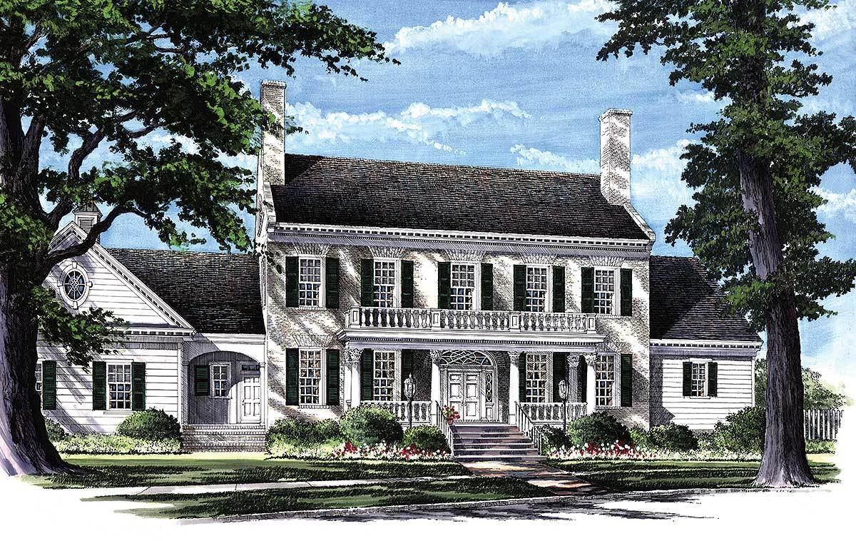 Colonial home plan with 2 master suites 32463wp 1st for Large colonial house plans