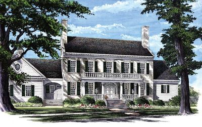 Colonial Home Plan with 2 Master Suites - 32463WP thumb - 01