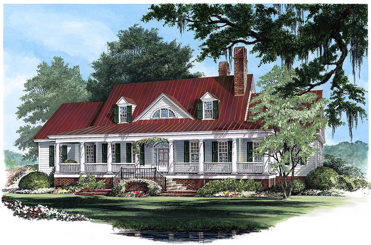 Classic country style house plan 32474wp 1st floor for Country style house plans with loft