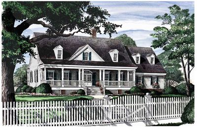 Three bedroom house plan with porches in front and back for House plans with porches on front and back