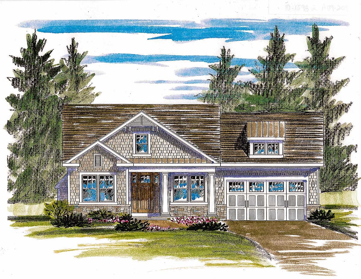 Shingle style house plan with open layout 19604jf for Shingle style home plans