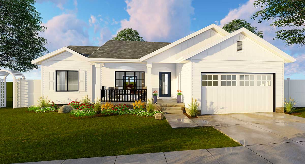 Split bedroom starter home plan 62645dj architectural for Starter house plans