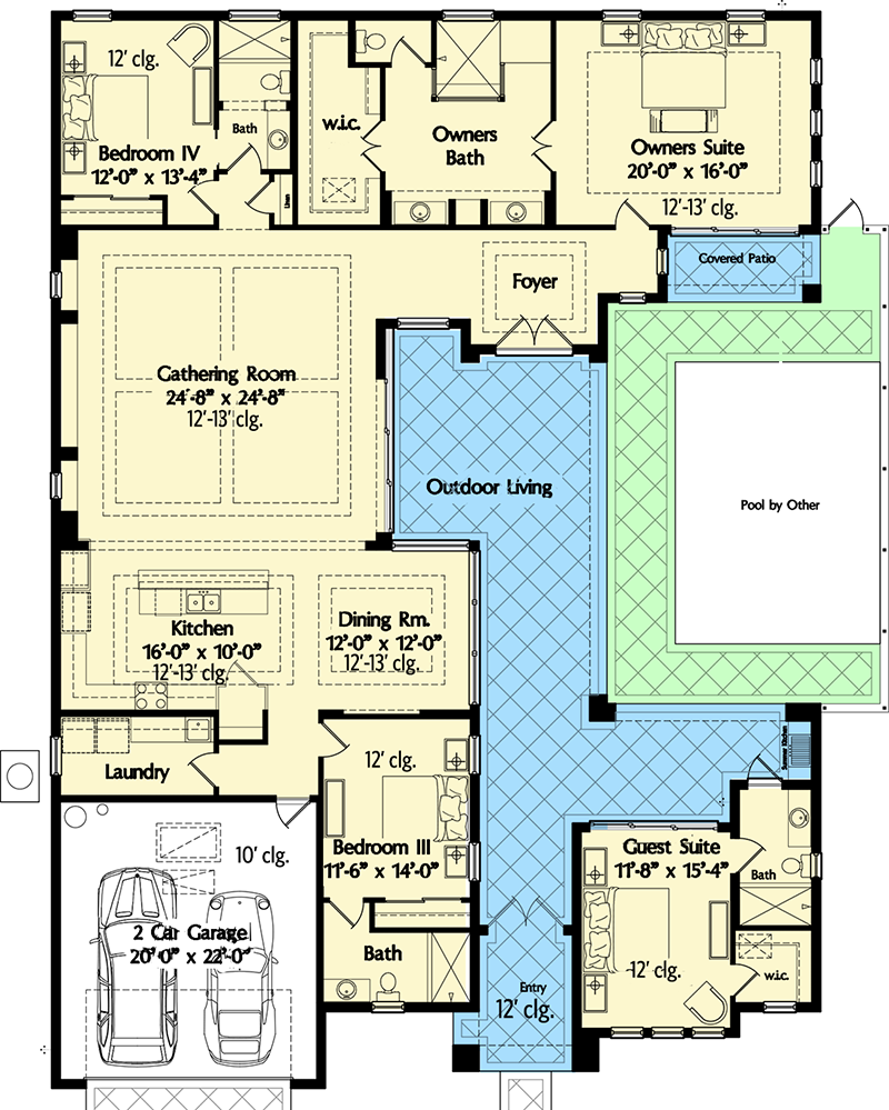 exceptional house plans florida #10: Florida House Plan with Wonderful Casita - 42834MJ floor plan - Main Level