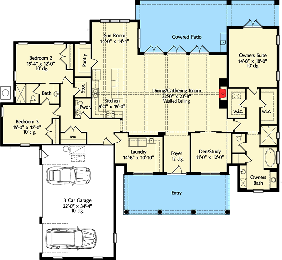 High end southern house plan 42837mj architectural for 10 foot ceiling house plans