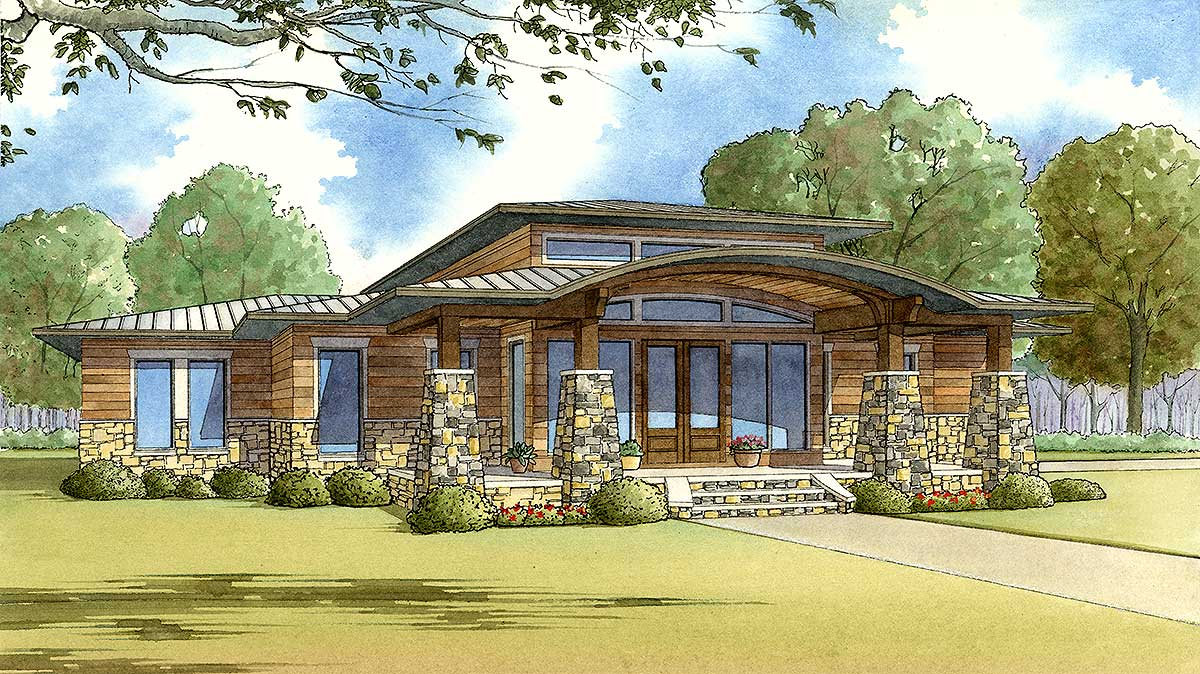 Modern Home Plan With Wrap-around Porch